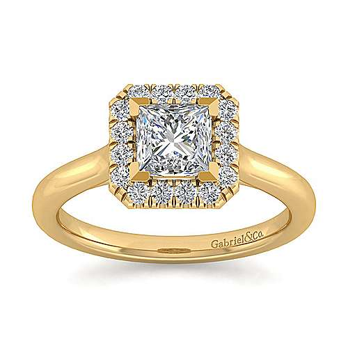 Stacy 14k Yellow Gold Princess Cut Halo Engagement Ring angle 5