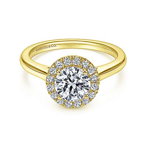 Stacy 14k Yellow Gold Round Halo Engagement Ring angle 1