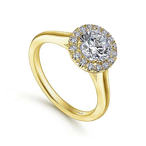 Stacy 14k Yellow Gold Round Halo Engagement Ring angle 3