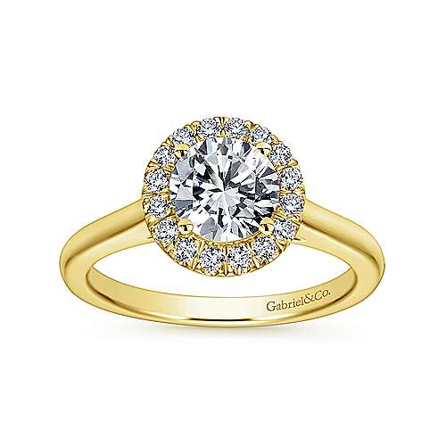 Stacy 14k Yellow Gold Round Halo Engagement Ring angle 5