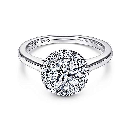 Gabriel - Stacy 18k White Gold Round Halo Engagement Ring