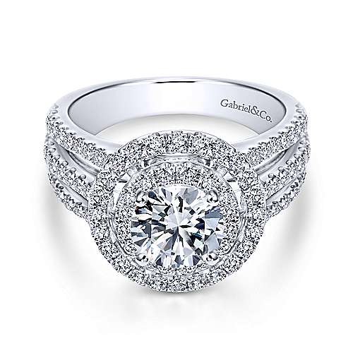 Gabriel - Starla 14k White Gold Round Double Halo Engagement Ring