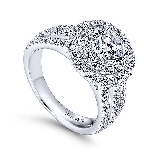 Starla 14k White Gold Round Double Halo Engagement Ring angle 3