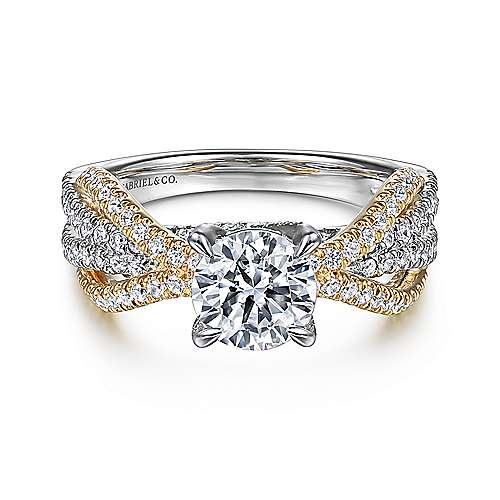 Gabriel - Starlet 14k Yellow And White Gold Round Twisted Engagement Ring