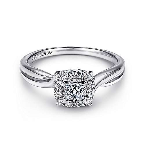 Gabriel - Stella 14k White Gold Princess Cut Halo Engagement Ring