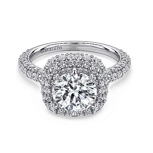 Gabriel - Stellar 18k White Gold Round Double Halo Engagement Ring