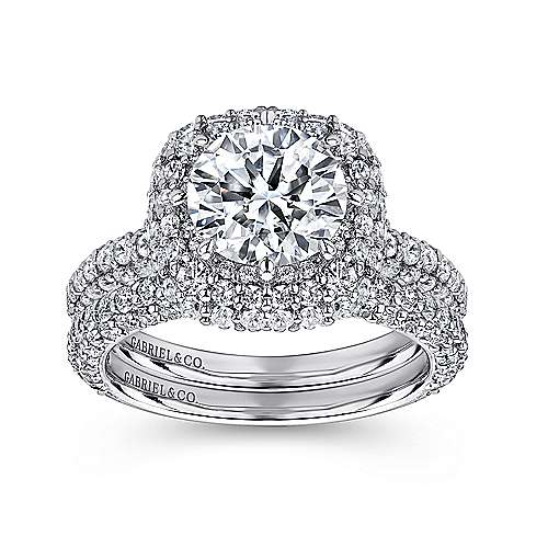 Stellar 18k White Gold Round Double Halo Engagement Ring angle 4