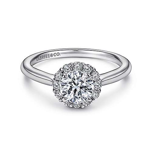 Gabriel - Stephanie 14k White Gold Round Halo Engagement Ring
