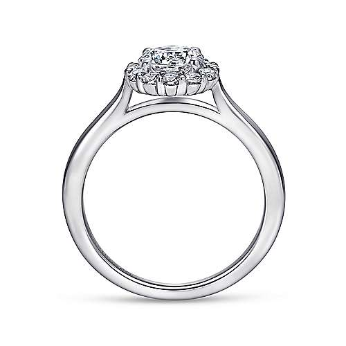 Stephanie 14k White Gold Round Halo Engagement Ring angle 2
