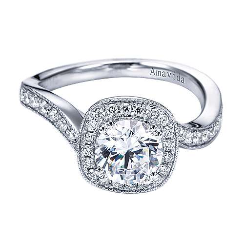 Gabriel - Suede 18k White Gold Round Halo Engagement Ring