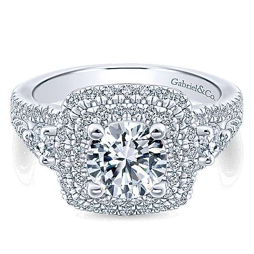 Sunflower 14k White Gold Round Double Halo Engagement Ring