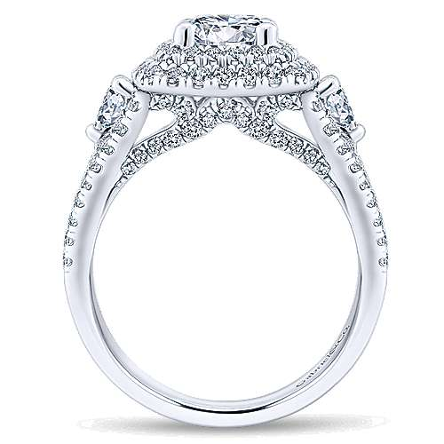 Sunflower 14k White Gold Round Double Halo Engagement Ring angle 2