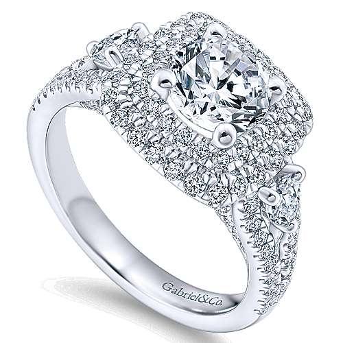 Sunflower 14k White Gold Round Double Halo Engagement Ring angle 3