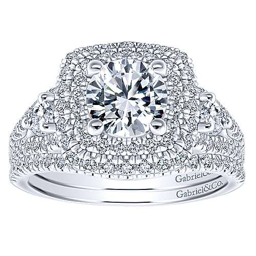 Sunflower 14k White Gold Round Double Halo Engagement Ring angle 4