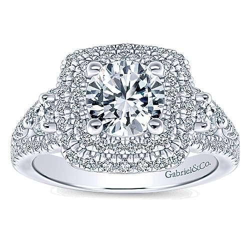Sunflower 14k White Gold Round Double Halo Engagement Ring angle 5