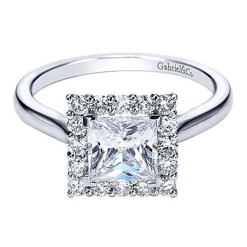 Gabriel - Suri 14k White Gold Princess Cut Halo Engagement Ring