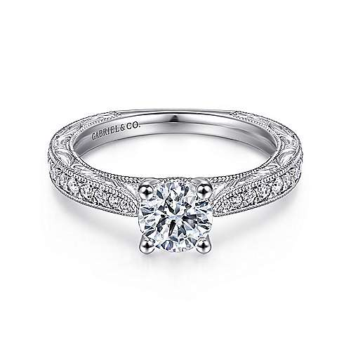 Gabriel - Susan 14k White Gold Round Straight Engagement Ring