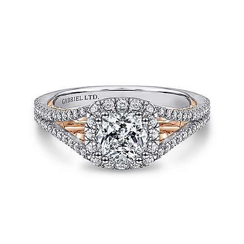 Gabriel - Susanna 18k White And Rose Gold Cushion Cut Halo Engagement Ring