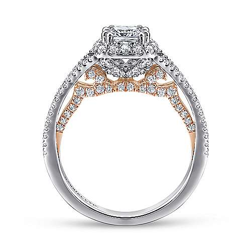 Susanna 18k White And Rose Gold Cushion Cut Halo Engagement Ring angle 2