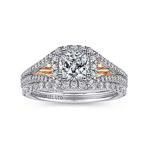 Susanna 18k White And Rose Gold Cushion Cut Halo Engagement Ring angle 4