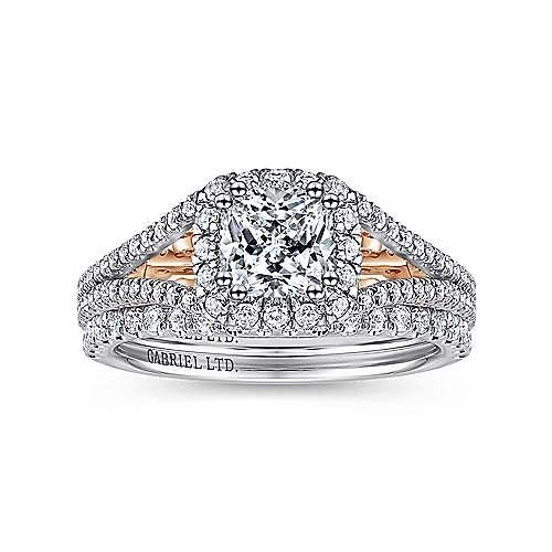 Susanna 18k White And Rose Gold Cushion Cut Halo Engagement Ring angle 4