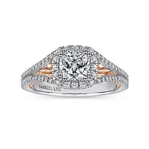 Susanna 18k White And Rose Gold Cushion Cut Halo Engagement Ring angle 5