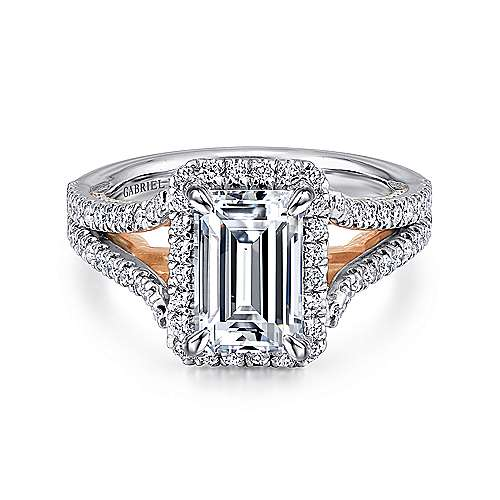 Susanna 18k White And Rose Gold Emerald Cut Halo Engagement Ring