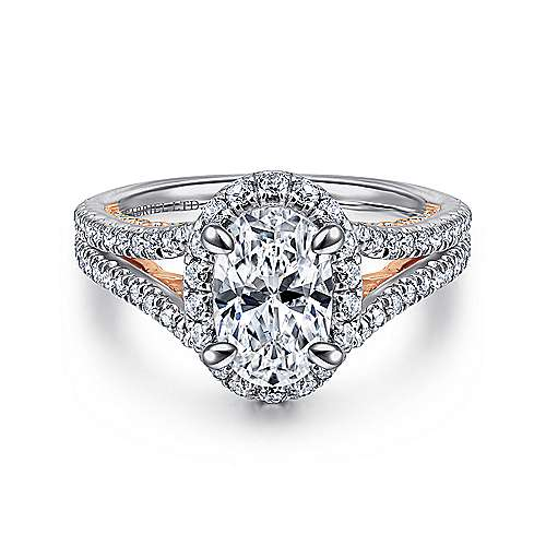 Gabriel - Susanna 18k White And Rose Gold Oval Halo Engagement Ring