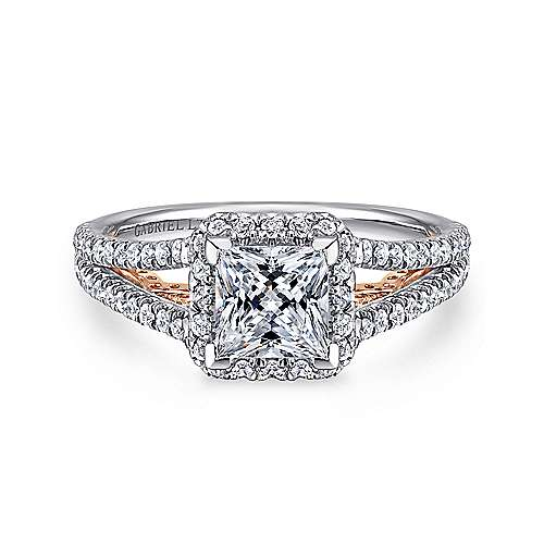 Gabriel - Susanna 18k White And Rose Gold Princess Cut Halo Engagement Ring