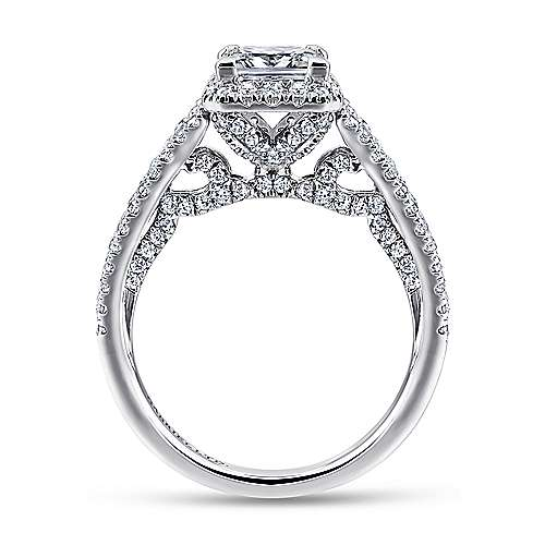 Susanna 18k White And Rose Gold Princess Cut Halo Engagement Ring angle 2