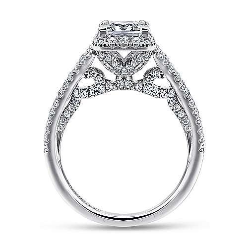 Susanna 18k White And Rose Gold Princess Cut Halo Engagement Ring