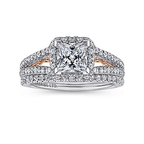 Susanna 18k White And Rose Gold Princess Cut Halo Engagement Ring angle 4