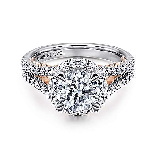Gabriel - Susanna 18k White And Rose Gold Round Halo Engagement Ring