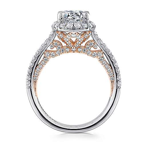 Susanna 18k White And Rose Gold Round Halo Engagement Ring angle 2