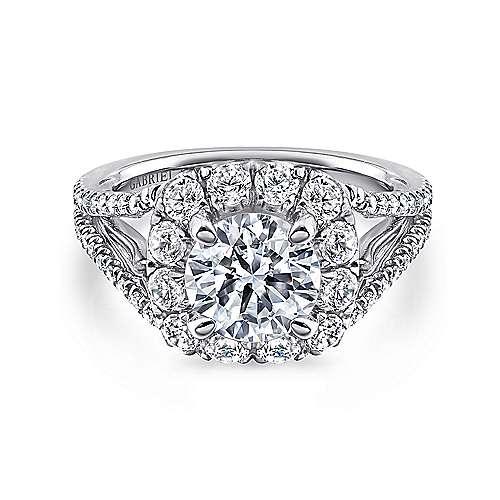 Gabriel - Susanna 18k White Gold Round Halo Engagement Ring