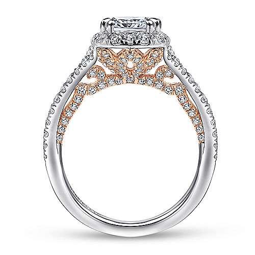 Susanna 18k White/pink Gold Cushion Cut Halo Engagement Ring angle 2