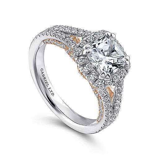 Susanna 18k White/pink Gold Cushion Cut Halo Engagement Ring angle 3