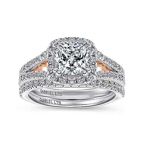 Susanna 18k White/pink Gold Cushion Cut Halo Engagement Ring angle 4
