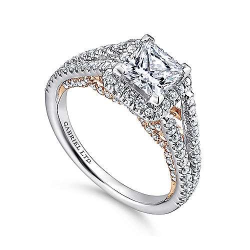 Susanna 18k White/pink Gold Princess Cut Halo Engagement Ring angle 3