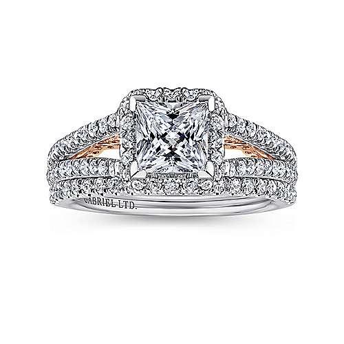 Susanna 18k White/pink Gold Princess Cut Halo Engagement Ring angle 4