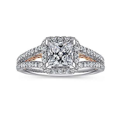 Susanna 18k White/pink Gold Princess Cut Halo Engagement Ring angle 5
