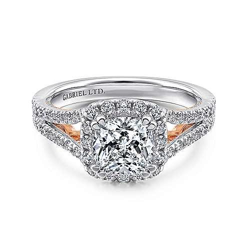 Gabriel - Susanna 18k White/rose Gold Cushion Cut Halo Engagement Ring