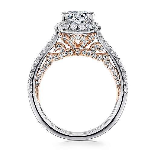 Susanna 18k White/rose Gold Round Halo Engagement Ring angle 2