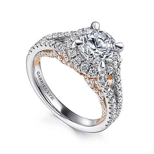 Susanna 18k White/rose Gold Round Halo Engagement Ring angle 3