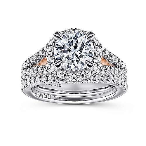 Susanna 18k White/rose Gold Round Halo Engagement Ring angle 4