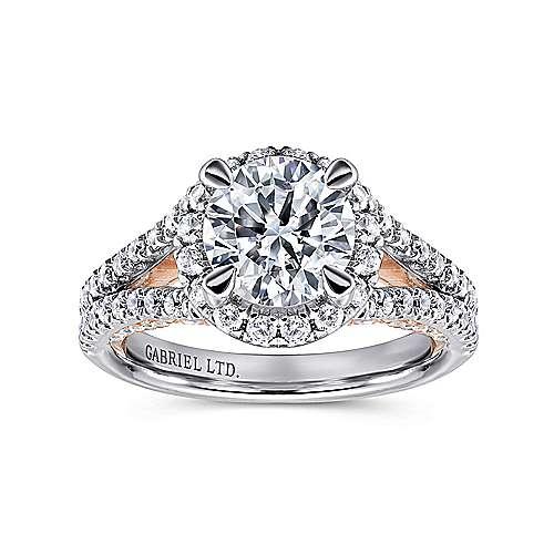 Susanna 18k White/rose Gold Round Halo Engagement Ring angle 5