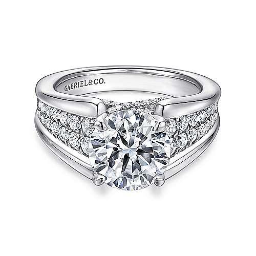 Gabriel - Sutter 14k White Gold Round Straight Engagement Ring