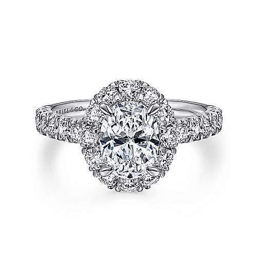 Gabriel - Sutton 14k White Gold Oval Halo Engagement Ring