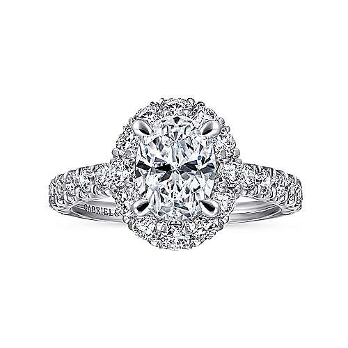 Sutton 14k White Gold Oval Halo Engagement Ring angle 5