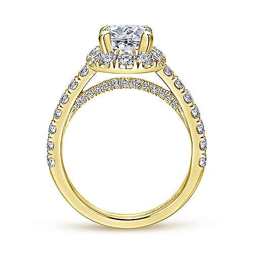 Sutton 14k Yellow Gold Oval Halo Engagement Ring angle 2